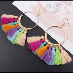 Jewelry - Multi Color Drop Tassel Earrings